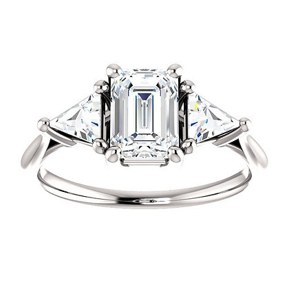Any Color 14K Gold Emerald Cut White Sapphire Engagement Ring