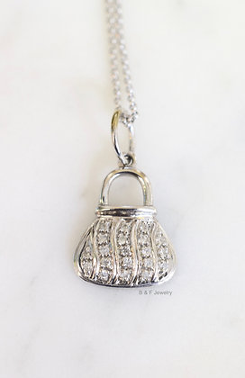 14K White Gold Diamond Purse Design Necklace