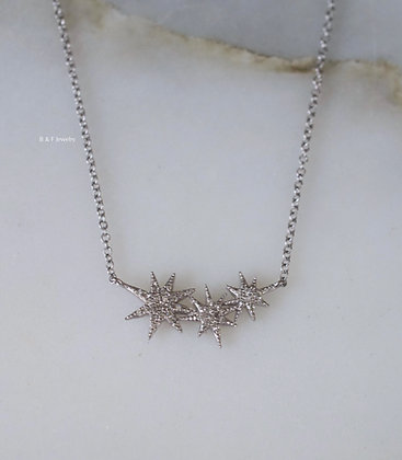 14K White Gold Diamond Starburst Earrings And/Or Necklace