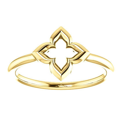 Any Color 14K Gold Clover Ring