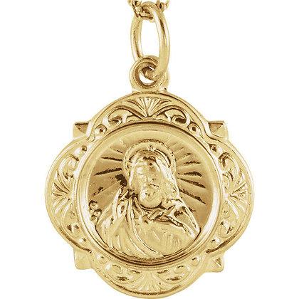 14K Gold Sacred Heart of Jesus Medal Necklace
