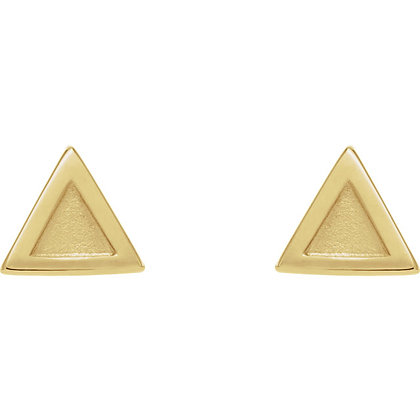 Any Color 14K Gold Triangle Stud Earrings- Square Version Available As Well