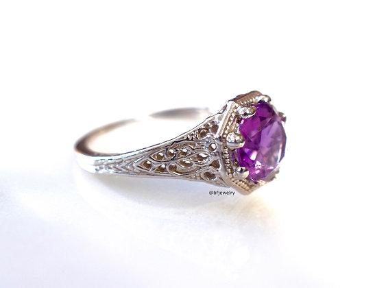 Vintage Style 14K White Gold Amethyst Ring
