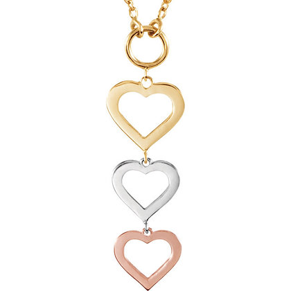14K Rose, Yellow & White Heart Necklace