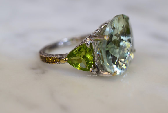 14K White Gold Oval Green Amethyst, Peridot, And Yellow Sapphire Ring