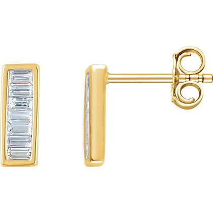 Any Color 14K Diamond Bar Earrings- 2 Sizes