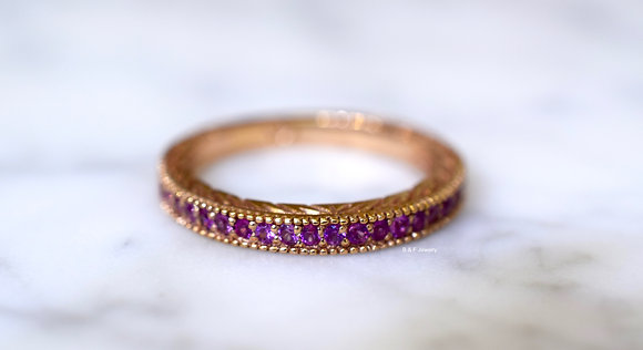 14K Rose Gold Vintage Style Pink Sapphire Band