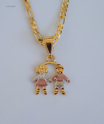 Tricolor Gold Plated Children Pendant Featuring 2 To 4 Children
