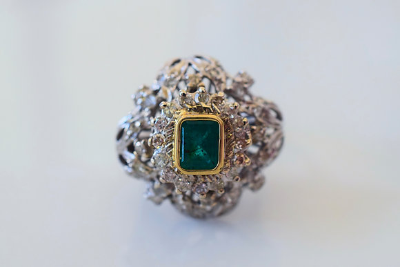 Vintage 14K White And Yellow Gold Emerald And Diamond Ring