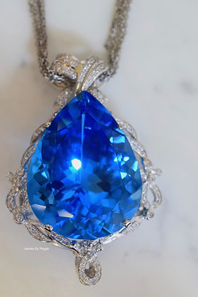 14K White Gold Pear Shape 106.36 Carat Swiss Blue Topaz And Diamond Necklace