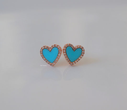 14K Rose Gold Turquoise And Diamond Heart Earrings