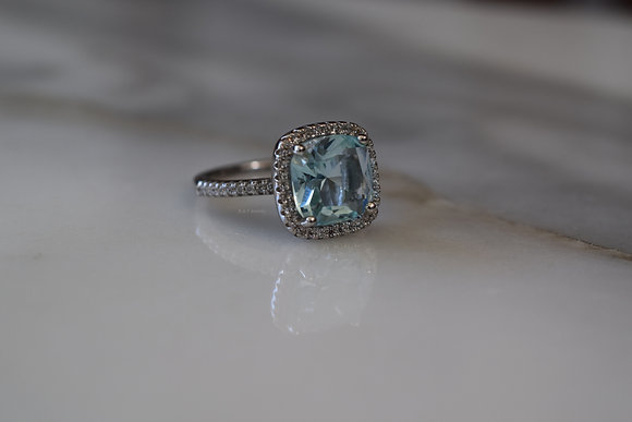 Sterling Silver Cushion Cut CZ Halo Ring In Multiple Gem Colors