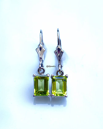 2.10 Carat Emerald Cut Peridot Dangle Earrings