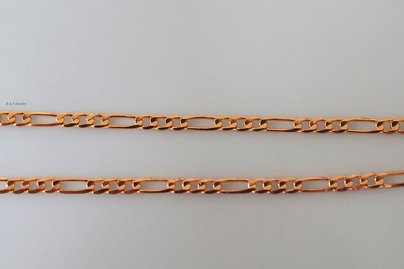 Thin 18 Inch Rose Gold Plated Figaro Chain