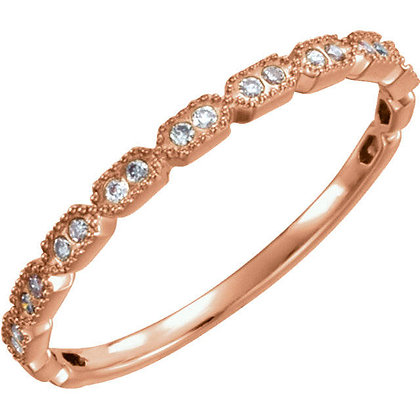 Any Color 14K Gold Vintage Style Diamond Band