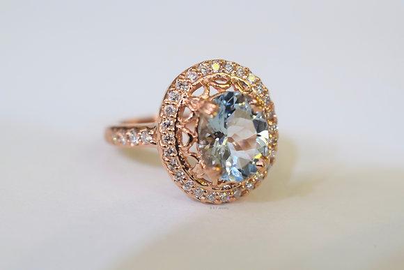 Vintage Style 14K Rose Gold Oval Aquamarine And Diamond Ring