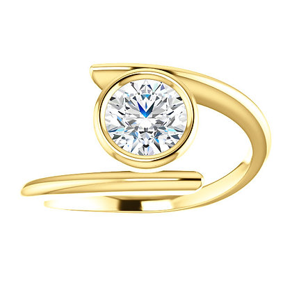 Bezel Set White Topaz Ring In Any Color Gold & Stone Shape