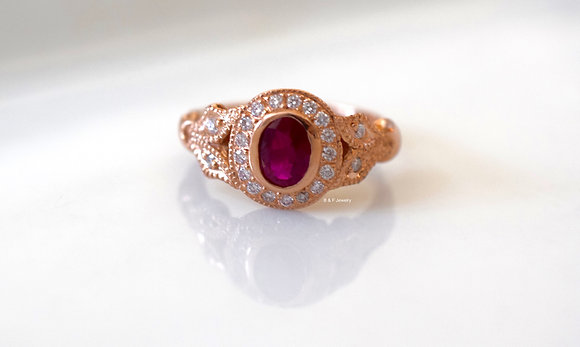 14K Rose Gold Vintage Style Ruby And Diamond Ring