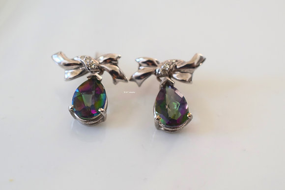 14K White Gold Bow Design Pear Shape Mystic Topaz And Diamond Dangle Earrings