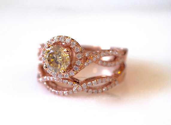 14K Gold Rose Cognac Diamond Bridal Set