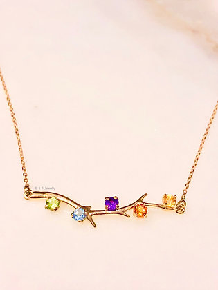 Any Color 14K Branch Necklace: 1 to 5 Gems