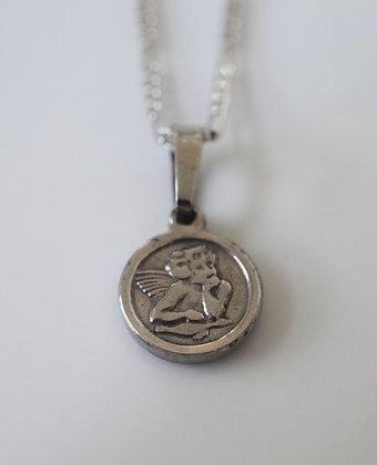 White Gold Plated Mini Cherub Necklace