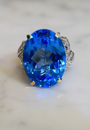 14K White Gold Swiss Blue Topaz, Sapphire, And Diamond Ring