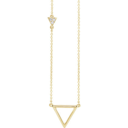 Any Color 14K Gold Diamond Triangle Y Necklace