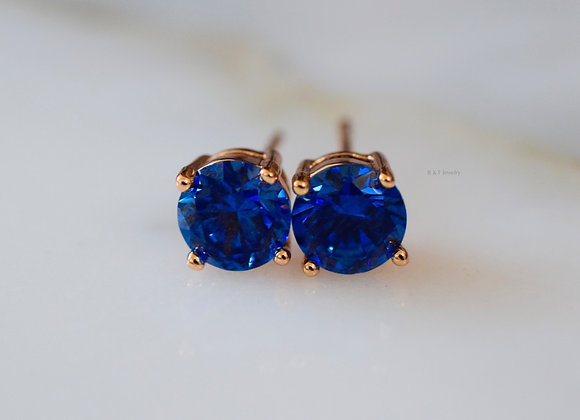 Champagne Gold Plated Sapphire Inspired Studs