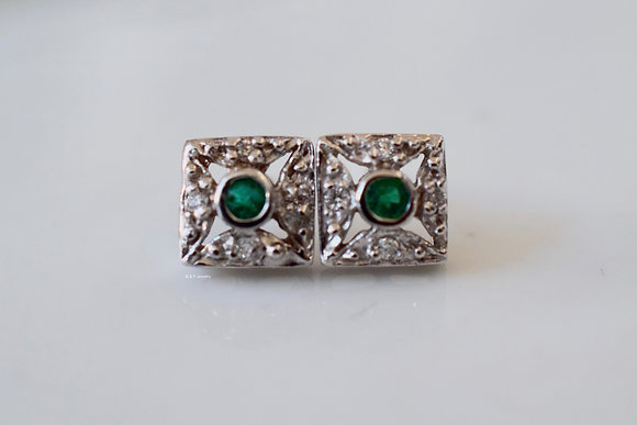 Vintage Style 14K White Gold Emerald And Diamond Earrings