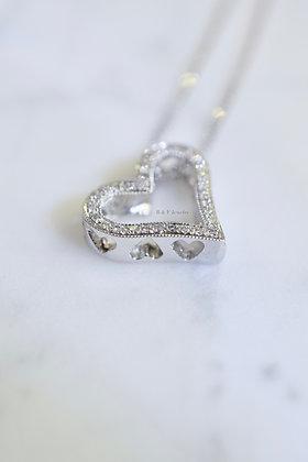 14K White Gold Pierced Diamond Heart Necklace
