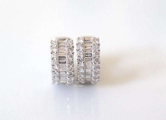14K White Gold Baguette And Round Diamond Huggie Hoops