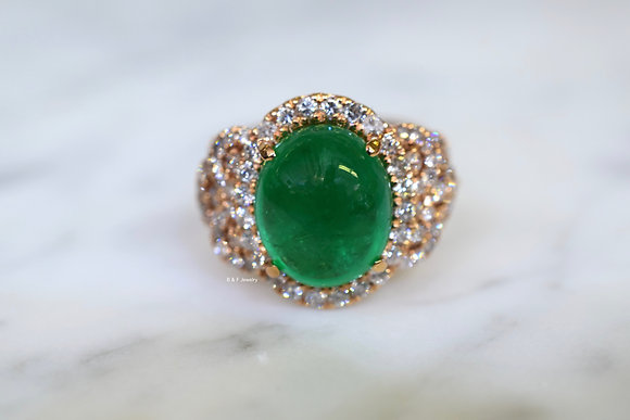 Appraised & Graded 18K Rose Gold Oval Cabochon Emerald And Diamond Ring