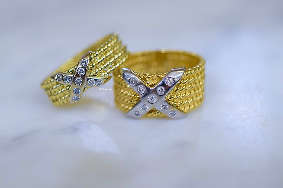 14K Gold Diamond Criss Cross Band In Two Widths- Has Matching Earrings