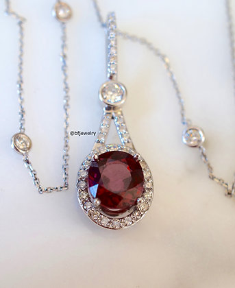 14K White Gold Red Zircon And Diamond Necklace