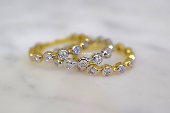 14K White Or Yellow Gold Stackable Bezel Set Diamond Bands