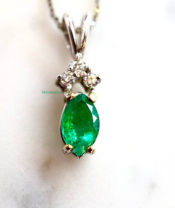 Marquise Emerald And Diamond Necklace