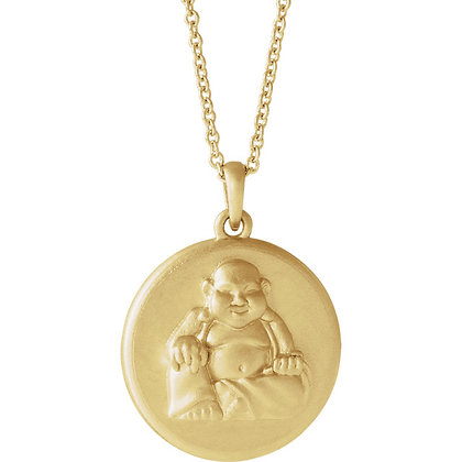 Any Color 14K Gold Buddha Medal Necklace