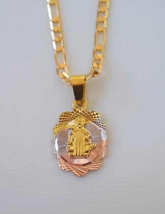 Tricolor Gold Plated Saint Ben Necklace