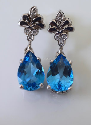 14K White Gold Pear Shape London Blue Topaz And Diamond Earrings