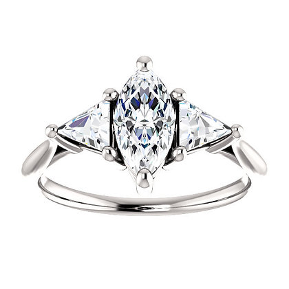 Any Color 14K Gold Marquise White Sapphire Engagement Ring