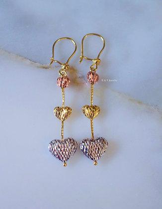 14K Tricolor Gold Diamond Cut Heart Drop Earrings