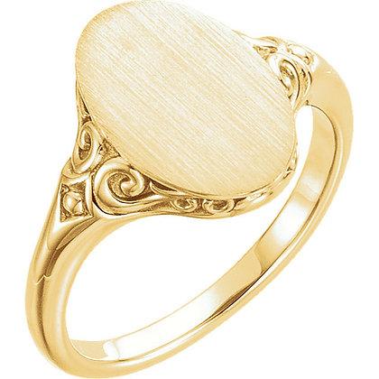 14K Custom Signet Ring: 3 Colors
