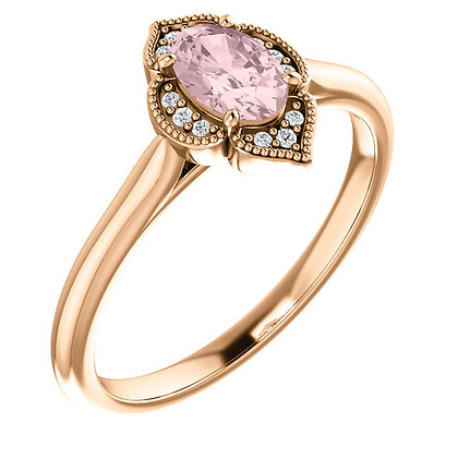 Vintage Style 14K Rose Morganite And Diamond Ring