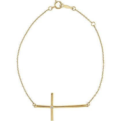Any Color 14K Gold Diamond Cross Bracelet- Or Any