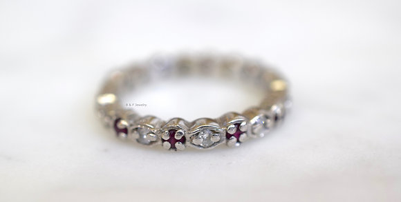 14K White Gold Ruby And Diamond Band
