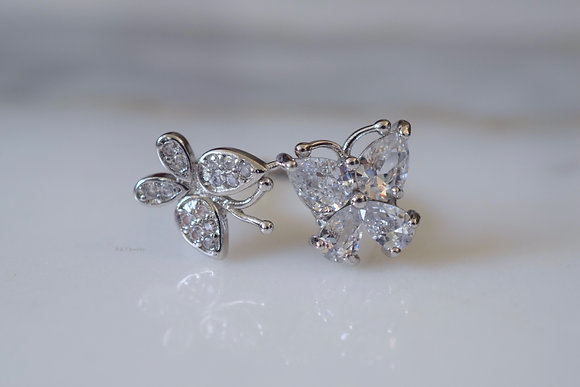 White Gold Plated Diamond Inspired Butterfly Bypass Ring