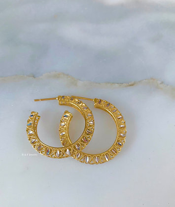 14K Bicolor Gold Heart Design Hoop Earrings