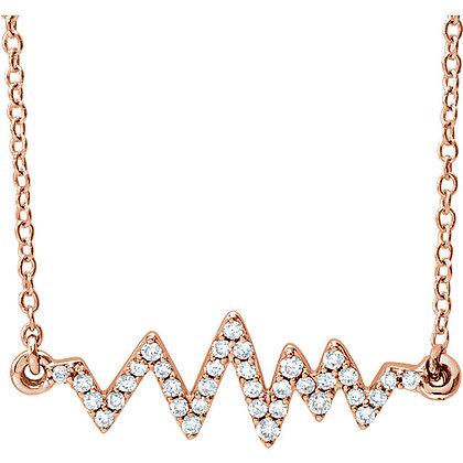 Any Color 14K Gold Diamond Heartbeat Necklace