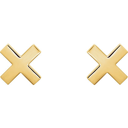 Any Color 14K Gold X Design Stud Earrings